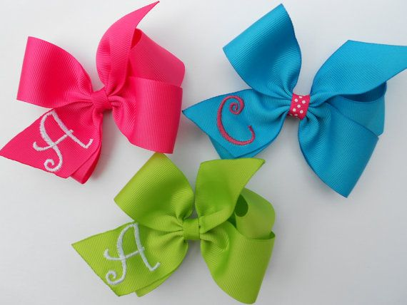 3 Hair Bows 37 Colors Initial Monogrammed U by MaciesCustomBowZ