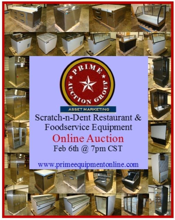 Our Winter Scratch-n-Dent Restaurant & Foodservice Equipment Online Auction is Feb 6th @ 7pm CST.  www.PrimeEquipmentOnline.com
