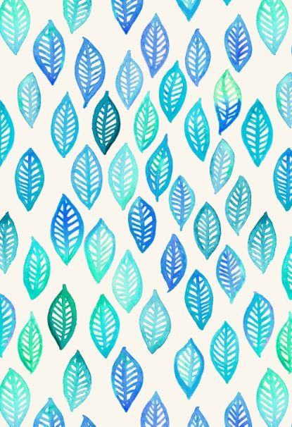 Watercolor Leaf Pattern in Blue & Turquoise Art Print