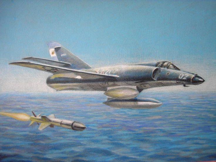 Super Etendard de la Armada Argentina disparando un misil Exocet.