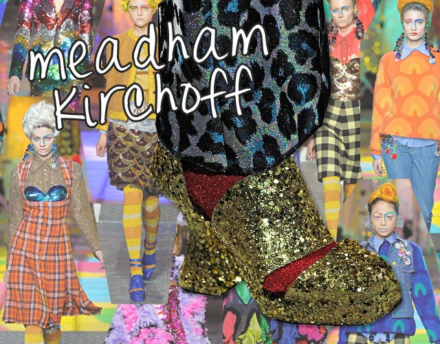 @fashinista #meadham #kirchoff, gold sparkly shoes