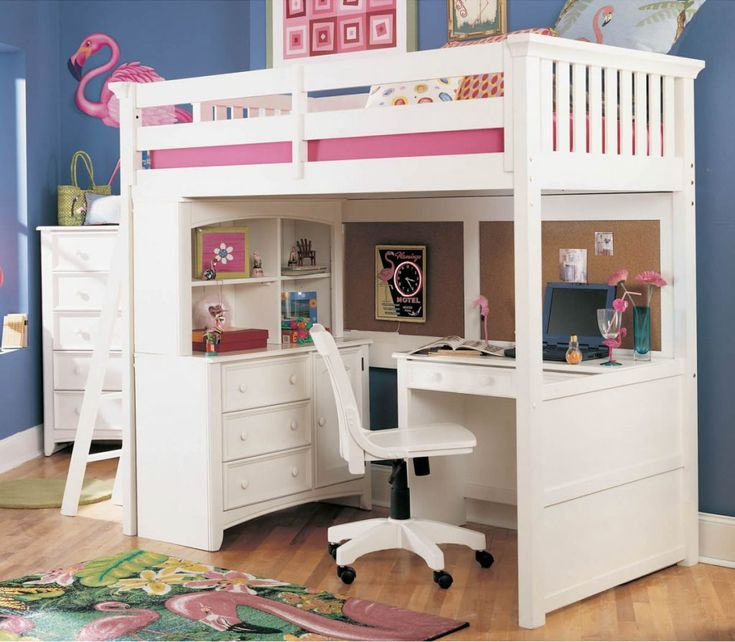 #Teenagers #Bedrooms #Bunk #beds with #desk or #study area & rolling #chair in #painted #white #wood with ample #clothing dressers & drawers & #organize #boards for female youths
