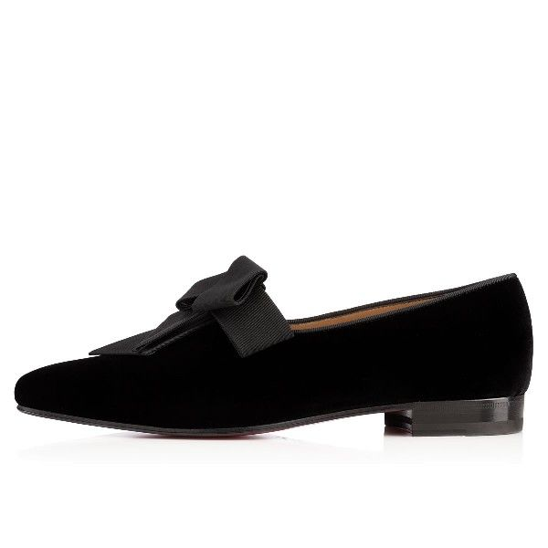 Christian Louboutin Mr Grant Flat Black Velvet Loafers Mens FW14