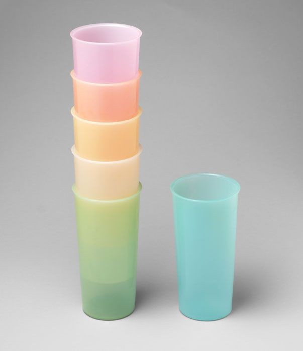 Earl S. Tupper (American, 1907-1983). Tumblers. 1954. Polyethylene, Each: 12.7 x 6.7 cm. Manufactured by Tupper Corporation, Farnumsville, MA. The Museum of Modern Art, New York