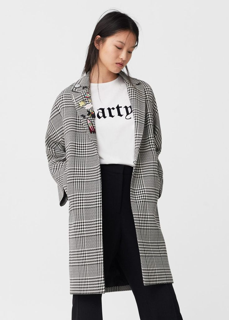 Patches houndstooth coat | MANGO
