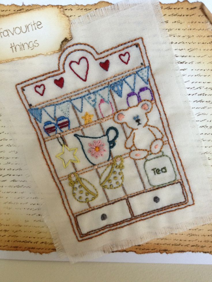 Embroidered card using Inkydoodles stamps