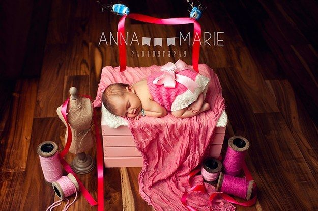Themed newborn photo