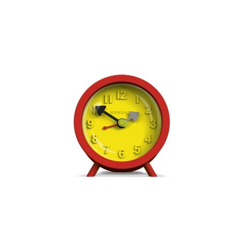 The Fred Alarm Clock in Fire Engine Red by Newgate Clocks.   A brightly coloured contemporary alarm clock.  Iconic British design | www.newgateclocks.com  #homeware #decor #interior #home accesory