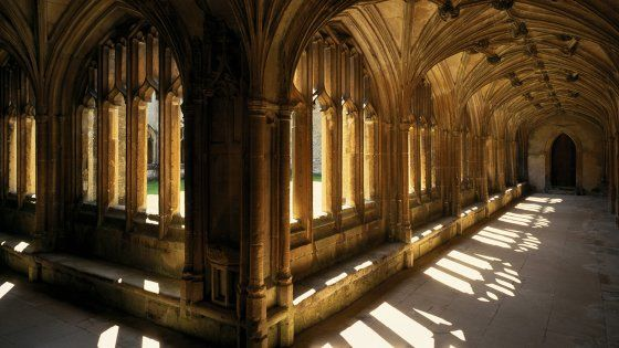 A stunning shot of the sun shining through the cloister at Lacock Abbey, the birthplace of photography.
