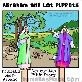 Abraham and Lot Stick Puppets for Sunday School from www.daniellesplace.com
