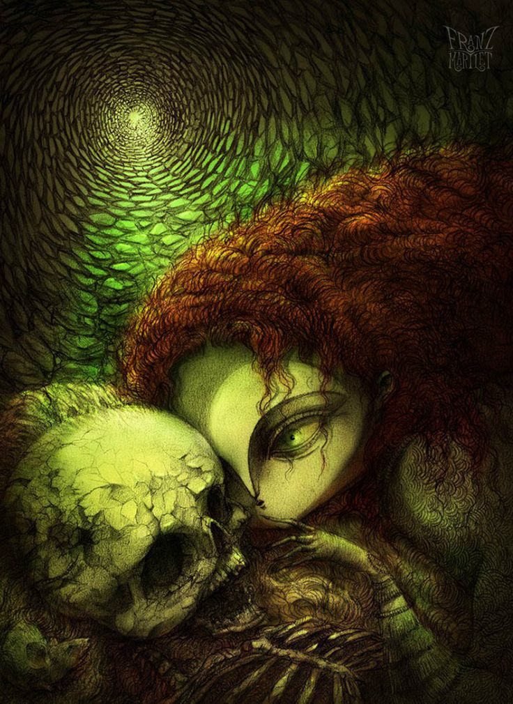 #daughters of autumn #drawing #skall #death #redhead #franz_martlet
