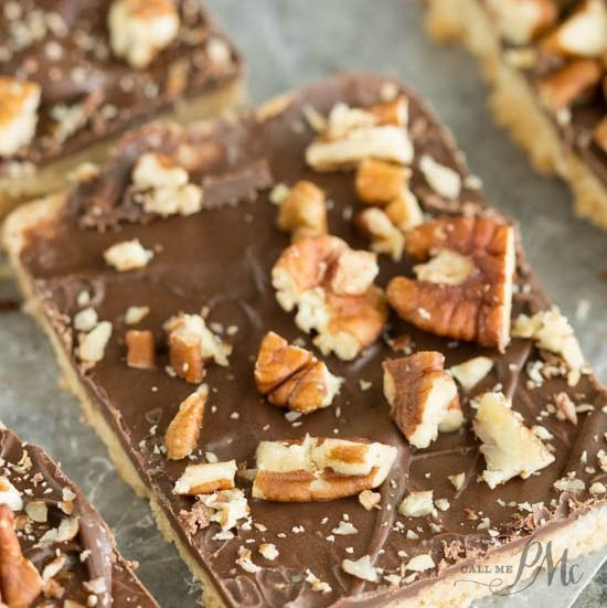 Chocolate Pecan Shortbread Bars recipe has a buttery shortbread crust and topped simply with luscious chocolate and salted pecans.