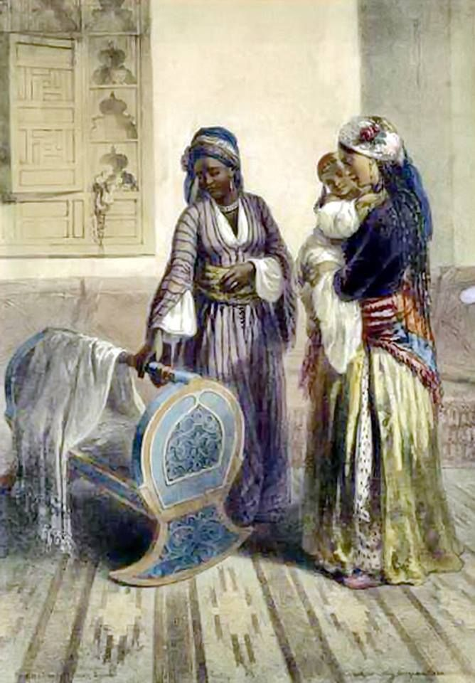 Egyptian Mother and Child with a Habesh, or Abyssinian Slave Illustration from The Valley of the Nile 1848...