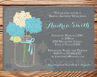 Bridal Shower InvitationHydrangea Mason Jar by StellarDesignsPro