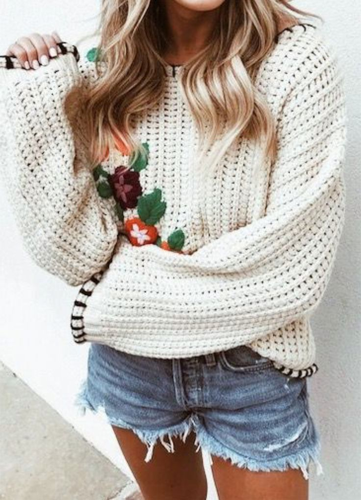 chunky floral knit sweater