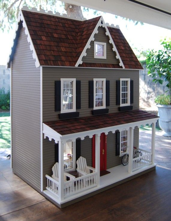 Special Edition Vermont Farmhouse Jr Dollhouse - love the paint and the red door!!!! And the front porch