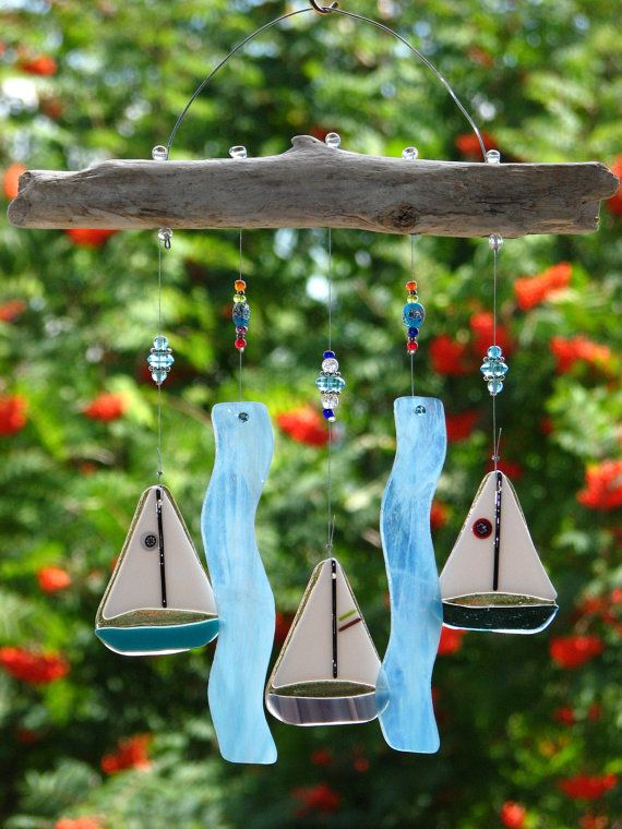Fused Glass Sailboat Wind Chime with Driftwood by RecycledelicBC