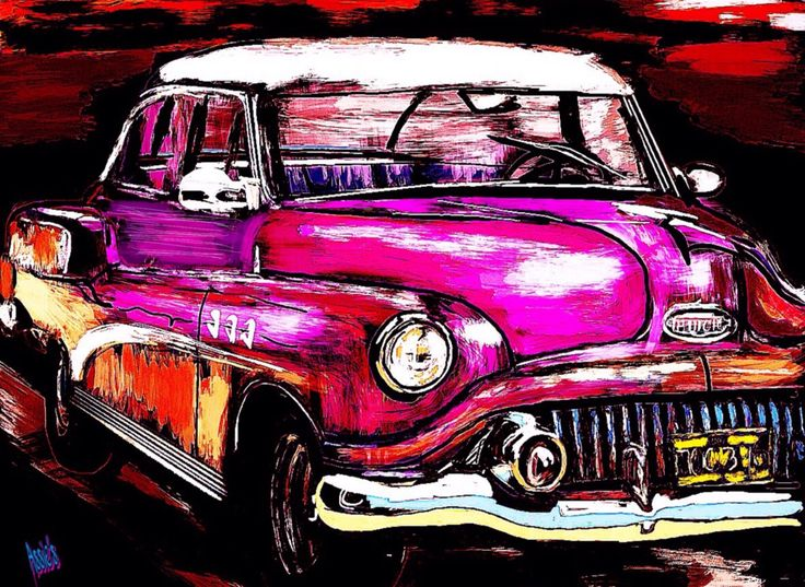 Classic Car Cuba Pink  Digital Art Draw Painting  Walldecoration Poster