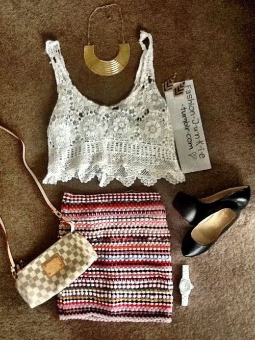 Fashion, Lace Tops, Crop Tops, Closets, Cute Summer Outfit, Gold Necklaces, Cute Outfit, Tribal Skirts, Summer Night