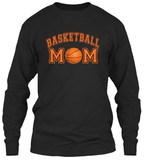 Basketball Mom, Tshirt Black Long Sleeve T-Shirt Front