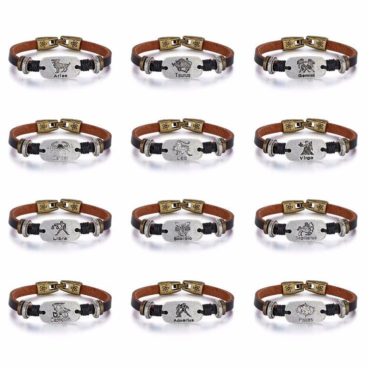 $3.75 ea--Fate Love 2017 New 12 Constellations Bracelet Male Vintage Punk Leather Zodiac Horoscope Signs Bracelet Men Women Jewelry FL1188-in Charm Bracelets from Jewelry & Accessories on Aliexpress.com | Alibaba Group