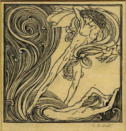 Print made by Charles Ricketts1894: Scrolls Waves, Art Nouveau, Rickett 1894, Nouveau Prints, Charles Rickett, Nouveau Waves, Press 1894, Neptune Waves, Leander Swimming
