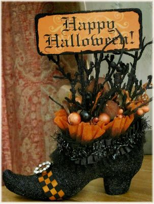 Boo-Hoo, a Witch's Shoe    Nancy Malay's Victorian Whimsies