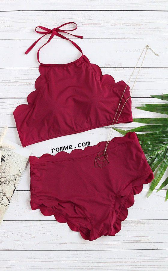 Burgundy Scalloped Trim Halter Bikini Set