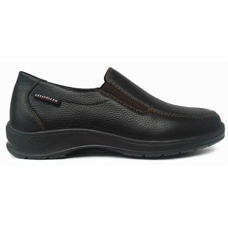 Zapato mocasín pala lisa piel grabada color marrón oscuro plantilla extraible Mobils Mephisto vista lateral