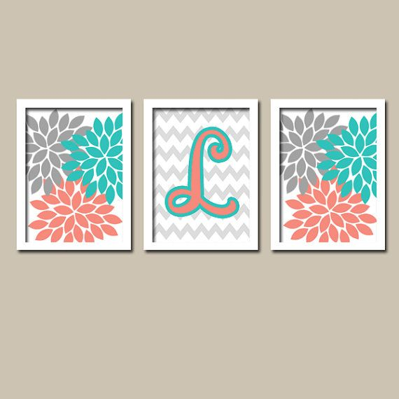 Turquoise Coral Gray Monogram Flower Burst Letter Initial Set of 3 Trio Prints Chevron WALL Decor Abstract ART Bedroom Picture NURSERY on Etsy, $28.00