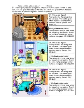 Estar with prepositions guessing activity. Free TpT activity to check out.