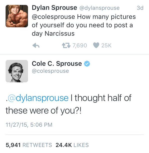 Funny Dylan and Cole Sprouse tweets