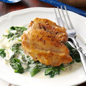 Chicken Thighs with Shallots & Spinach Recipe from Taste of Home -- shared by Genna Johannes of Wrightstown, Wisconsin