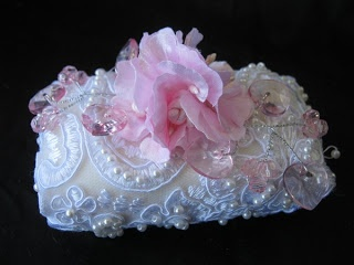 Hand decorated Soaps and pincushions I have been hand decorating soaps with wonderful old fabrics and beautiful bits and beads, I have also been busy making pincushions from antique teacup sets and now I am showing them off. Please enjoy