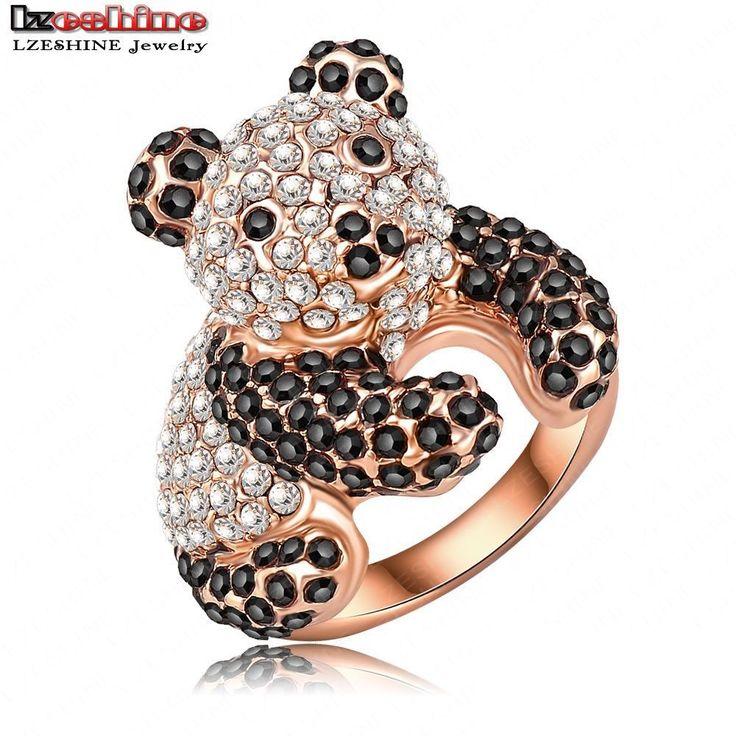 LZESHINE  Wholesale Lovely Panda Shaped Engagement Rings WithRose Gold Plating & Czech Crystals Wedding Jewelry Ri-HQ0179