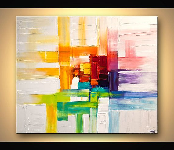Pintura abstracta moderna contemporánea original por Osnat    Nombre de la pintura: Pensamientos coloridos    Tamaño: 36 x 30 x1.5 colores profundos: colorido con fondo blanco  Medio: Acrílico sobre lienzo estirado envuelto, espátula    La pintura se encuentra lista para colgar (hardware y colgar la instrucción se suministrará).  Fue pintado en un lienzo envuelto con una espátula.  El lienzo tiene lados libre de grapas. No necesitas encuadrarlo - sólo colgarlo. Se ha aplicado la capa final…