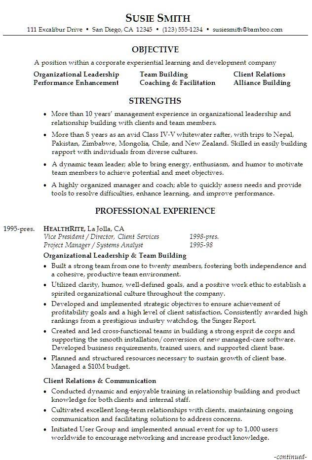 Sample Resume for someone seeking a job in Executive Management Organizational Leadership, Team Building, Client Relations, Performance Enhancement, Alliance Building