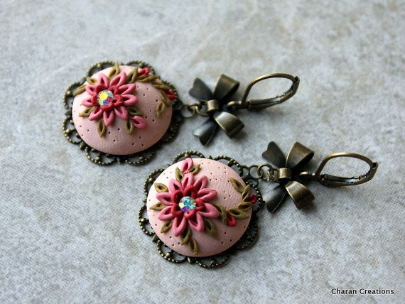 Lovely Antiqued Rose Polymer Clay Floral by charancreations