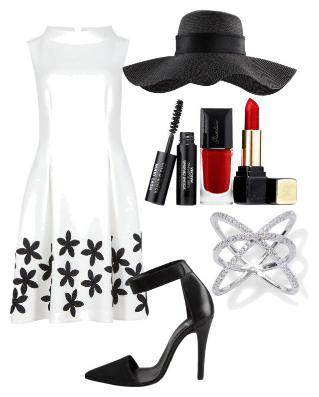 """""""white black spring dress"""" by bbn0306 ❤ liked on Polyvore featuring Pieces and Guerlain"""