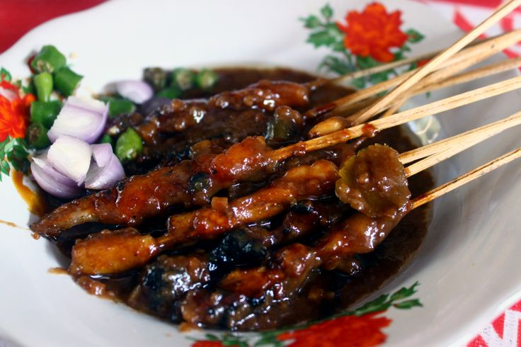 Chicken sate, there's few kind of sauces for satay in Indonesia.