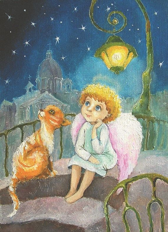 Angel Card Angel guardian painting Postcard Christmas card Angel and red cat illustration  Art for Kids Nursery wall decor by Mirabilitas on Etsy