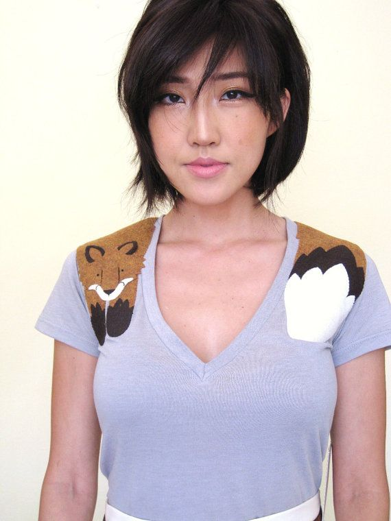 Wrapped Faux Red Fox Gray Tee Shirt, $45 via Etsy --- (Look: http://etsy.me/roMeAm)