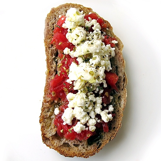 Greek bruschetta....this would be great with some diced cucumber added ...