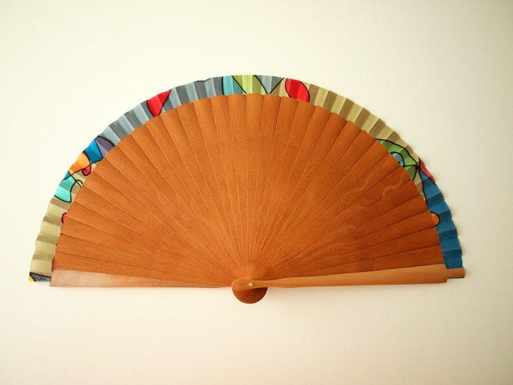 Handpainted Silk hand fan-Wedding hand fan-Silk hand fan-Bridesmaids-Spanish hand fan-Giveaways by gilbea on Etsy
