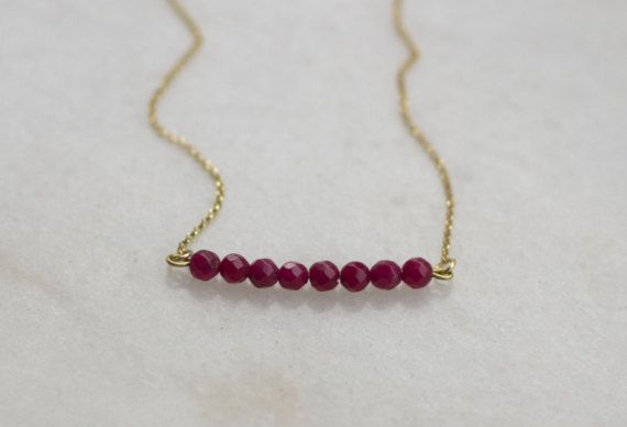 Red bar necklaceMinimalistBead BarRed Jade by NARCISSUSJEWELRY