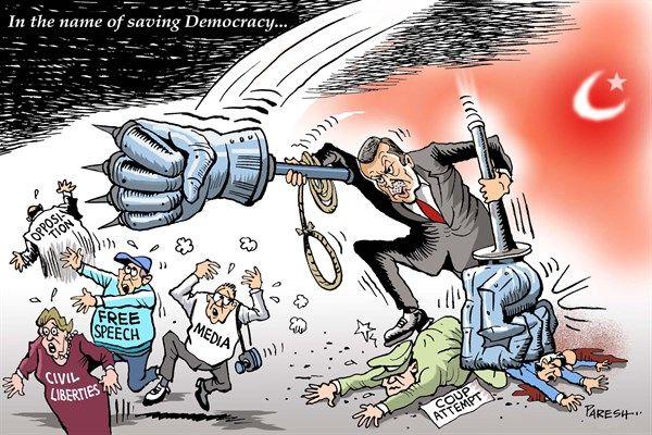 Paresh Nath - The Khaleej Times, UAE - Saving Turkey's Democracy - English - Turkey, Erdogan, Turkey coup attempt, emergency, iron fist, hitting media, civil liberties, Turkish opposition, Gulen, free speech, Turkish army, Erdogan authoritarianism