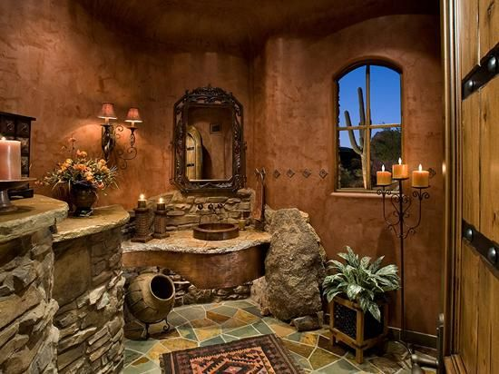 Southwest decor look at this bathroom southwest for Mexican themed bathroom ideas