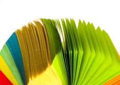 multi colored post its stock photo