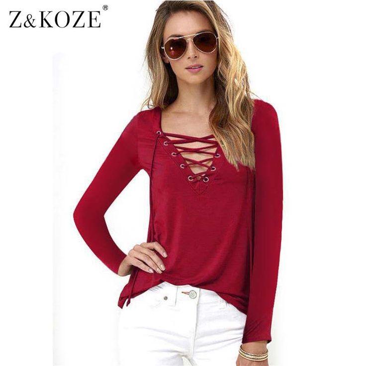 Z&KOZE 2016 New Hollow out Strappy Women Blouses Plus Size Lace Up Long Sleeve Shirt Women Blusas Lady Tops Black Blouse
