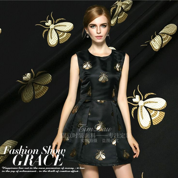 High-grade jacquard cloth butterfly black silver gray brocade big fashion spring summer autumn dress skirt clothing fabric West